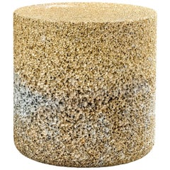 Metal Rock Round Side Table/Stool Gold Aluminum Foam by Michael Young