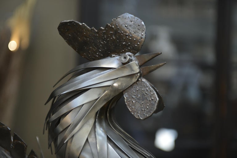 Brutalist Metal Rooster Sculpture by Jarry, France, circa 1970 For Sale
