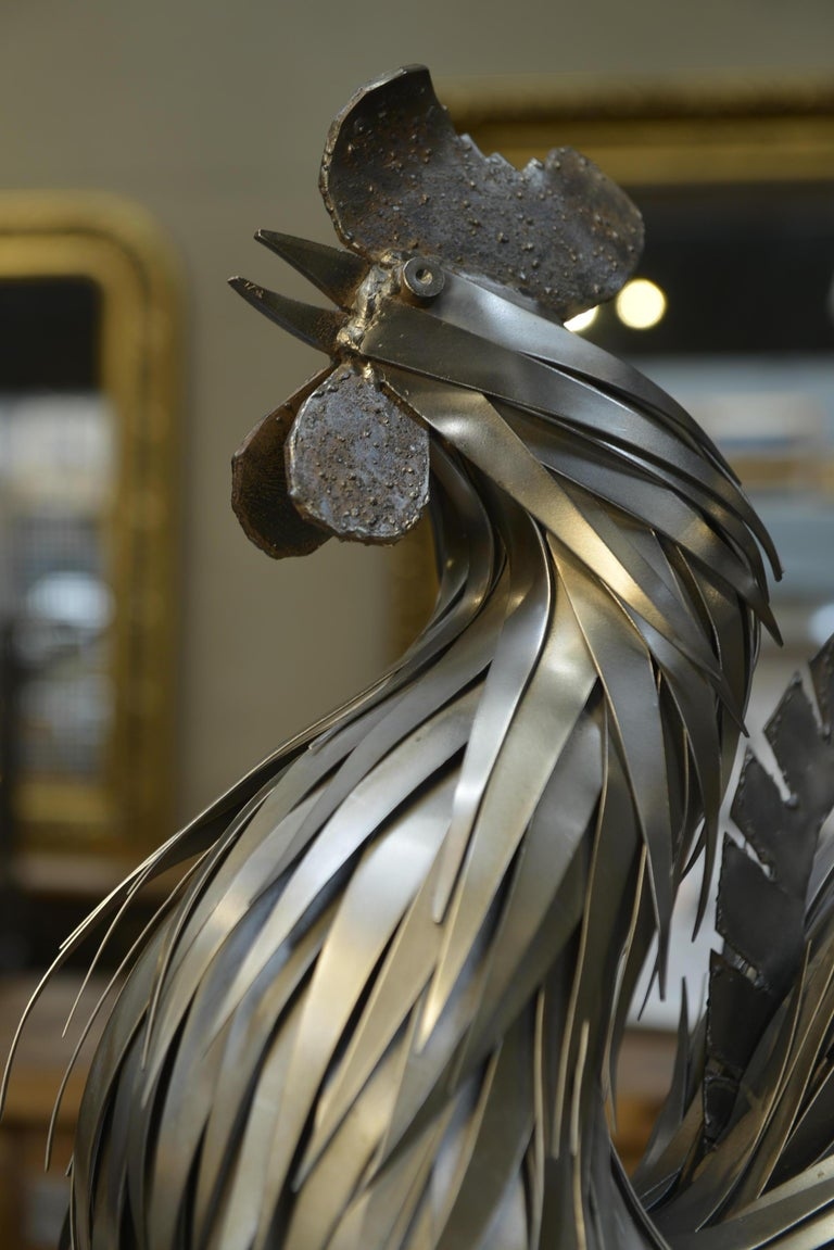 Metal Rooster Sculpture by Jarry, France, circa 1970 For Sale 2