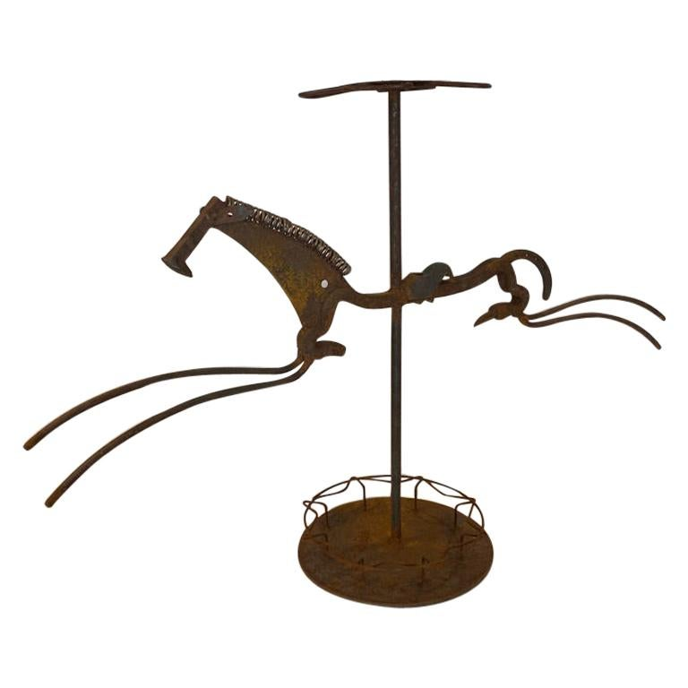 Metal Sculpture of a Horse Umbrella Stand by William Bill Heise For Sale