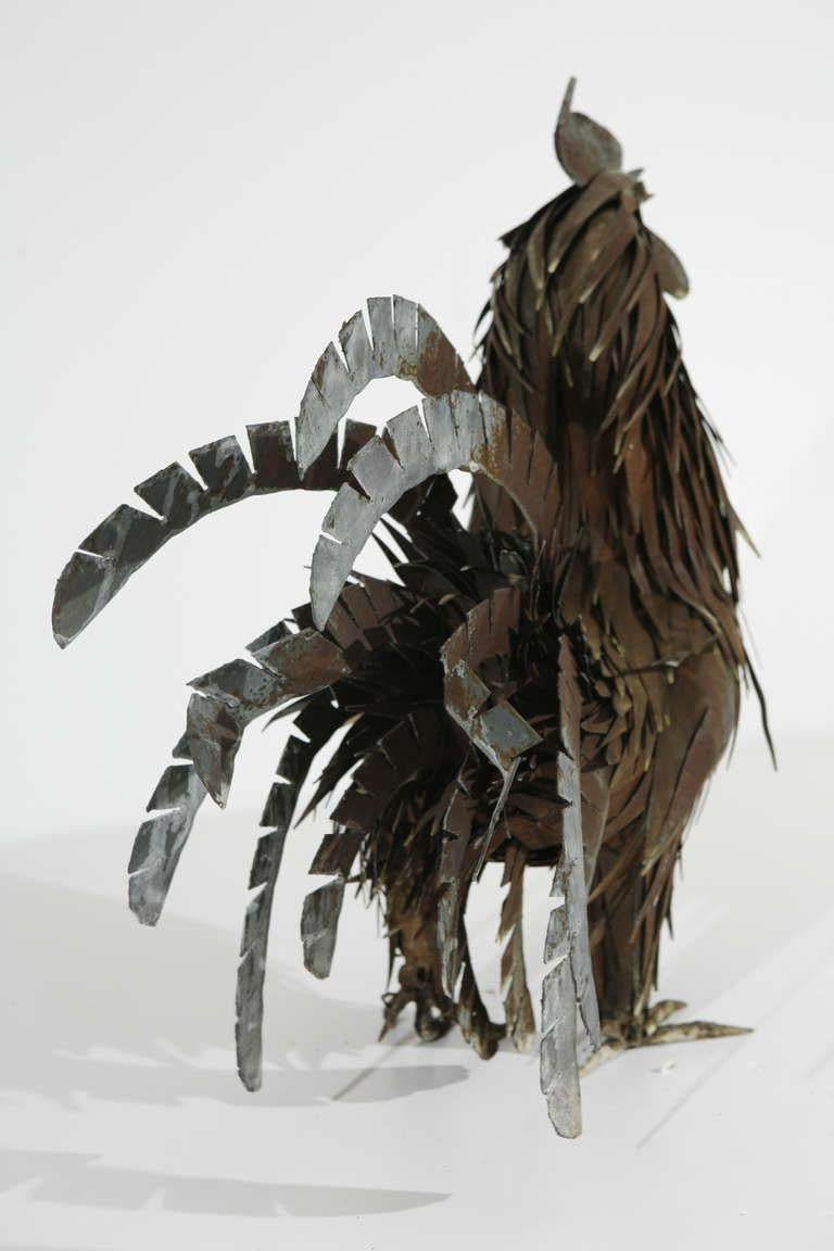 20th Century Metal Sculpture of a Rooster For Sale