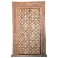 Metal Studded Highly Carved Solid Teak Wood Entry Door of a Temple Priest Home