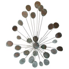 Metal Sunburst Wall Sculpture, circa 1970