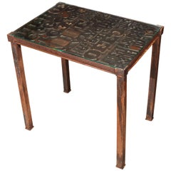 Late 19th Century Industrial Typeset Metal Table