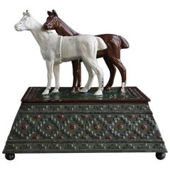 Metal Tobacco or Cigarette Box Decorated with Two Horses, Austria, circa 1920s
