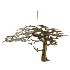Metal Wall Art Sculptural Bronze Bonsai Tree Signed by Artist Bijan, 1980