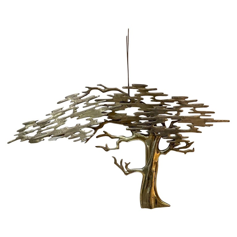 Metal Wall Art Sculptural Bronze Bonsai Tree Signed by Artist Bijan, 1980 For Sale