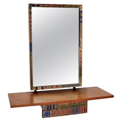 Metal Wooden Console Wall Mirror Esperia, Italy, 1960s