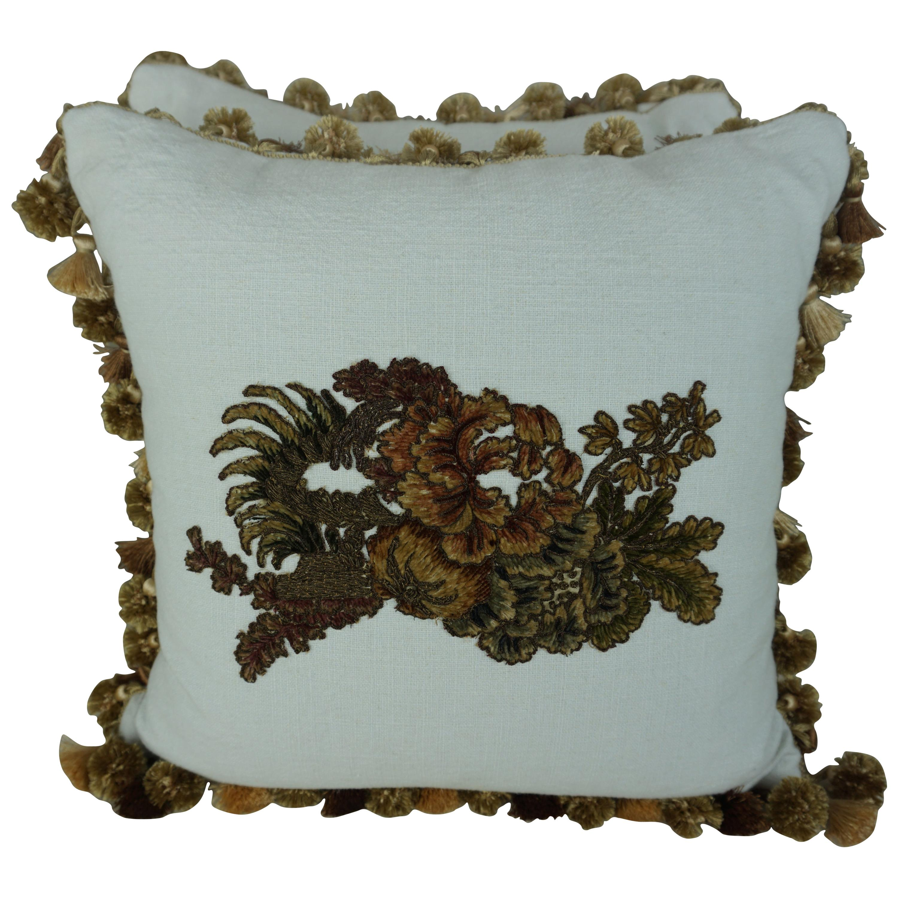 Metallic and Chenille Floral Appliqued Linen Pillows by Melissa Levinson