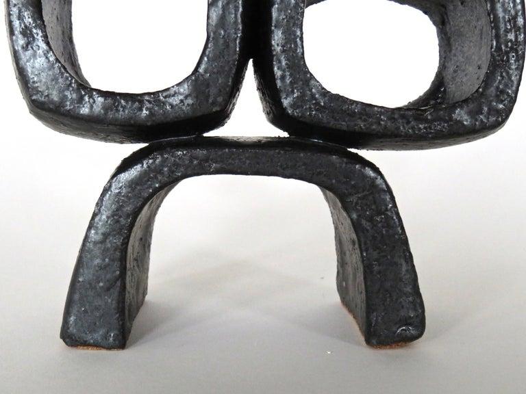 Contemporary Metallic Black TOTEM, Ceramic Sculpture, Three Rectangular Rings on Angled Base For Sale