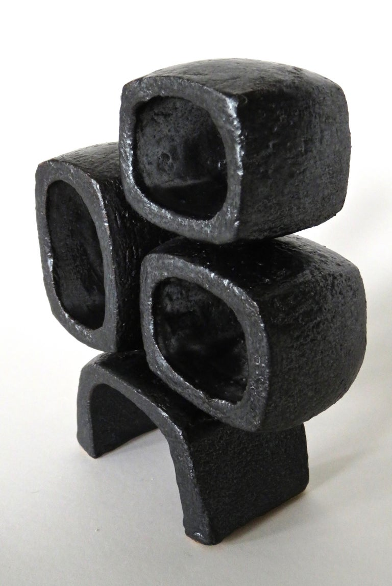 Metallic Black TOTEM, Ceramic Sculpture, Three Rectangular Rings on Angled Base For Sale 1