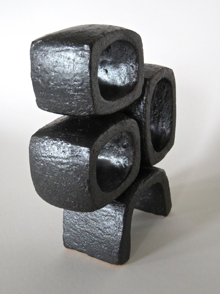 Metallic Black TOTEM, Ceramic Sculpture, Three Rectangular Rings on Angled Base For Sale 2