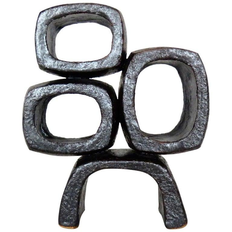Metallic Black TOTEM, Ceramic Sculpture, Three Rectangular Rings on Angled Base For Sale