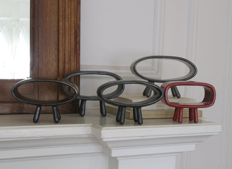 Ceramic Sculpture With 5 Hollow Rings on Angled Legs, Black With Metallic Specks For Sale 12