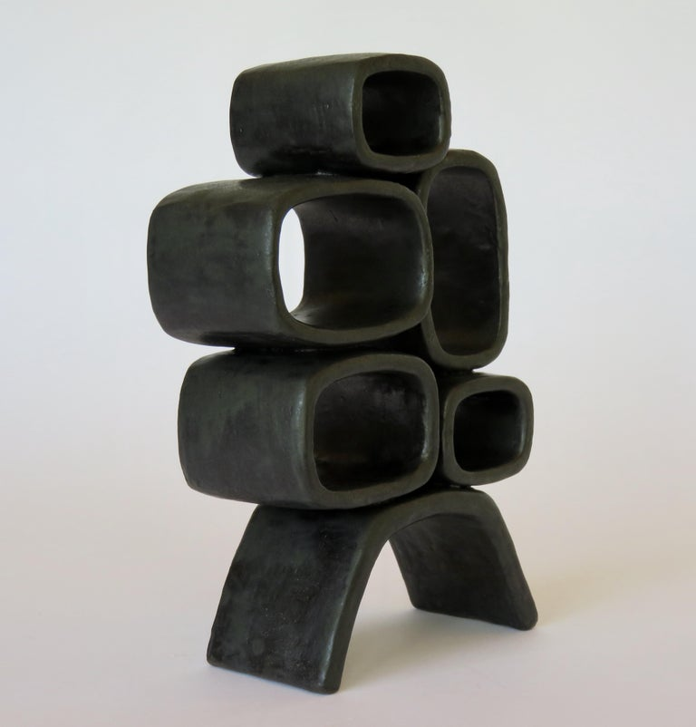 Ceramic Sculpture With 5 Hollow Rings on Angled Legs, Black With Metallic Specks For Sale 2