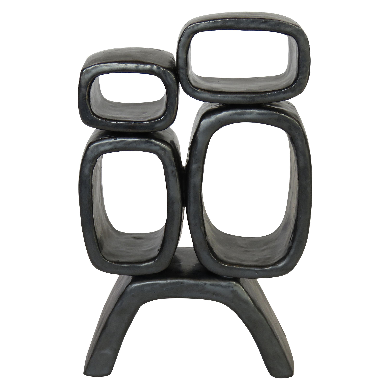 Metallic Black Hand-Built Ceramic Sculpture With 4 Rectangular Rings on Legs