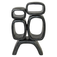 Metallic Black Hand-Built Ceramic Sculpture With 4 Rectangular Rings on Legs