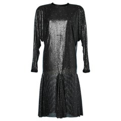 Metallic black mesh and strass dress Gianni Versace