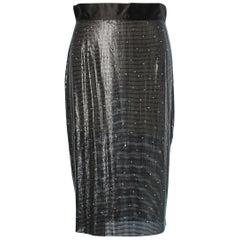 Metallic black mesh and strass skirt Gianni Versace