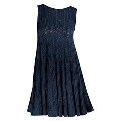 Metallic Blue Alaia Knit Babydoll Dress
