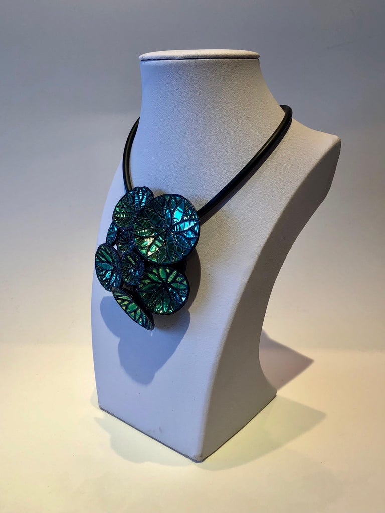 Contemporary Metallic Blue Architectural Origami French Statement Necklace  For Sale