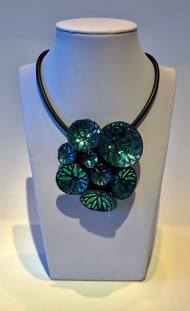 Metallic Blue Architectural Origami French Statement Necklace  In Excellent Condition For Sale In Palm Springs, CA