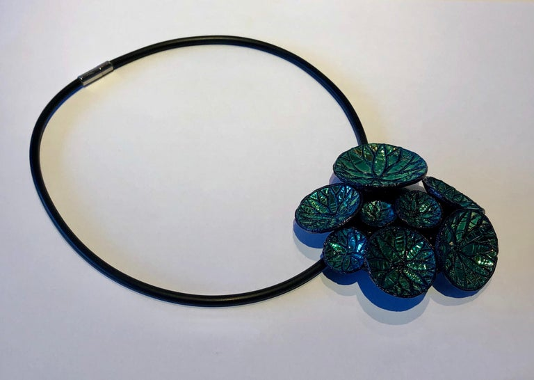 Women's Metallic Blue Architectural Origami French Statement Necklace  For Sale