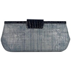 Metallic Blue Nancy Gonzalez Woven Clutch