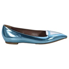 Metallic Blue & Silver Tabitha Simmons Point-Toe Flats