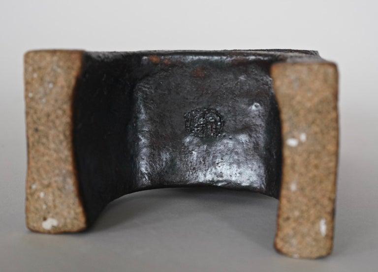 Metallic Brown/Black TOTEM, HandBuilt Ceramic Sculpture, 2 Stacked Rings on Legs For Sale 2