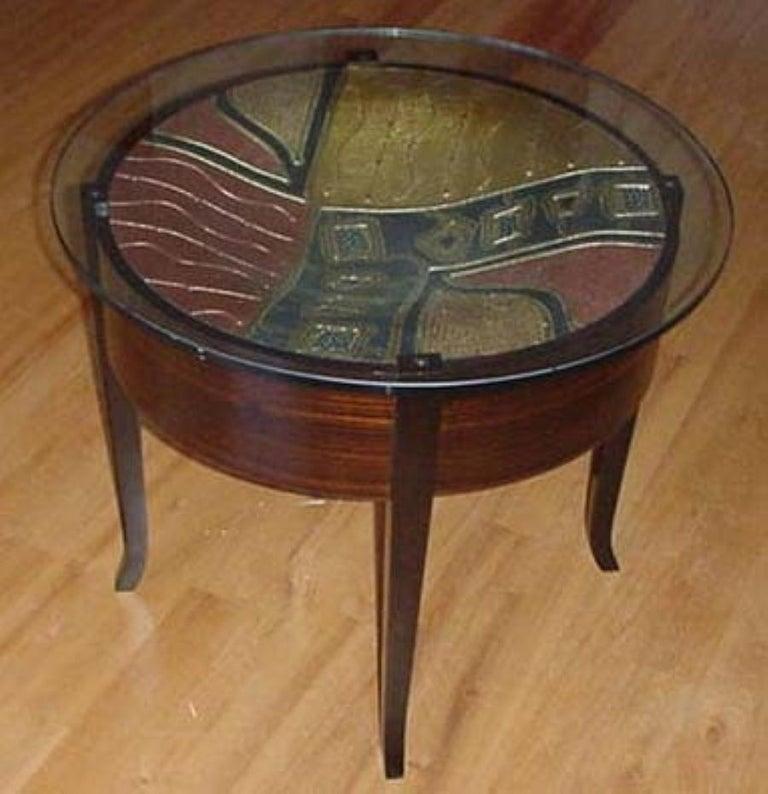 Organic Modern Metallic Cast Art Hardwood Side Table For Sale