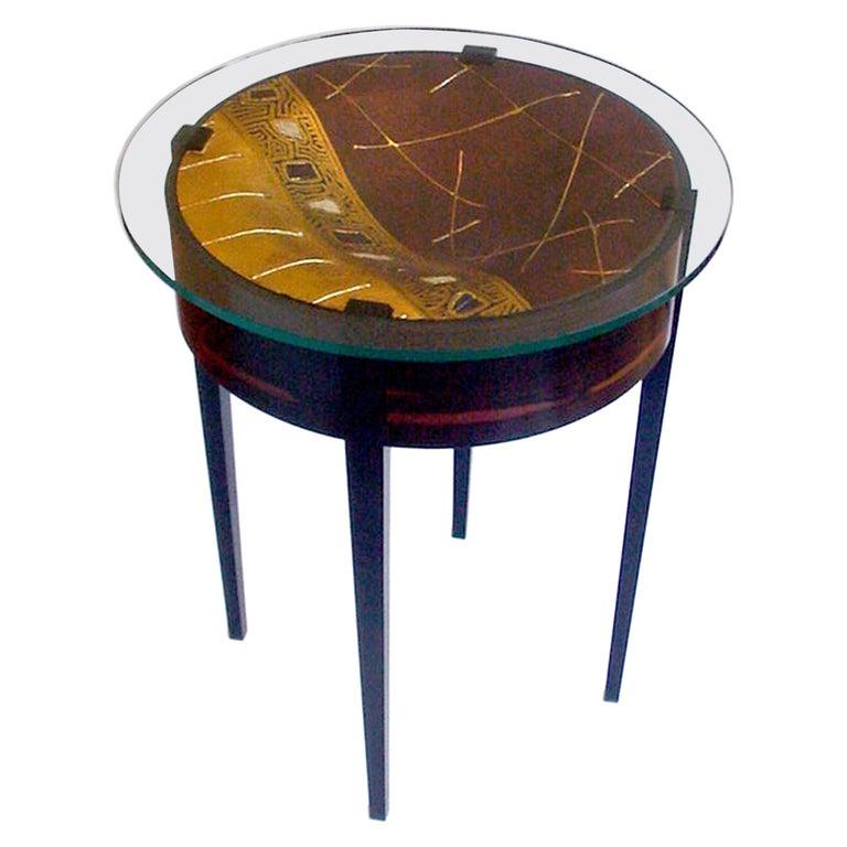 Metallic Cast Art Hardwood Side Table For Sale