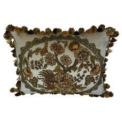 Metallic and Chenille Appliqued Pillow by Melissa Levinson