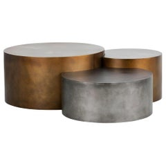 Metallic Composition of Three Low Tables in Different Heights and Finishes