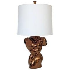 Metallic Copper Glazed Ceramic Nude Male Torso Table Lamp