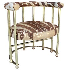 Metallic Cowhide in Zebra Print Brass and Leather Armchair