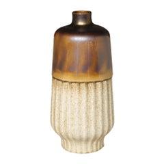 Metallic Glaze and Cream Rib Vase, Contemporary