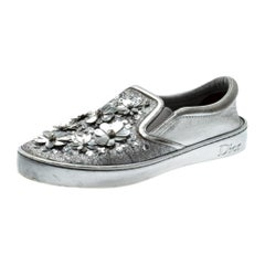 Metallic Glitter Leather Dior Happy Floral Embellished Slip On Sneakers Size 39