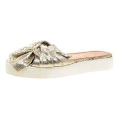 Metallic Gold Crackled Leather Poolside Knot Detail Platform Slides Size 38