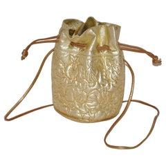 Metallic Gold Lambskin Drawstring and Detailed Floral Top-Stitching Shoulder Bag