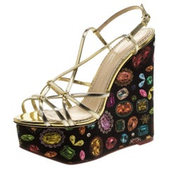 Metallic Gold Leather Elizabeth Jewel Print Wedge Sandals Size 40