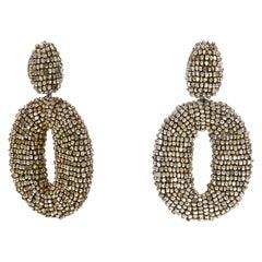 Metallic Gold Oscar de la Renta Beaded Drop Earrings