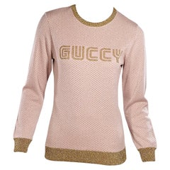 Metallic Gold & Pink Gucci Knit Sweater