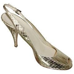 PRADA Gold Metallic  Peep Toe High Heels Sling Back Sandals