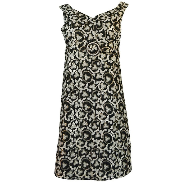 Metallic Gold Thread Print Mod Shift Dress, 1960s