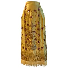 Metallic Gold Vintage Dragon and Phoenix Beaded and Sequin Chinese Maxi Skirt