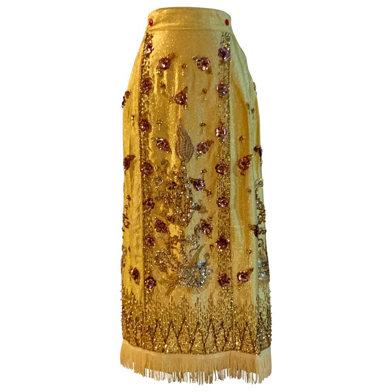 aba6c7e0 Metallic Gold Vintage Dragon and Phoenix Beaded and Sequin Chinese Maxi  Skirt For Sale