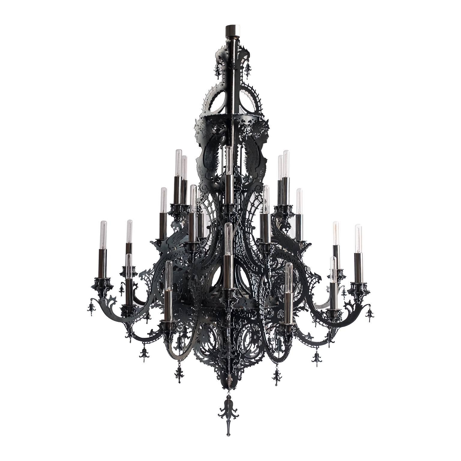 """""""Gina"""" Contemporary Chandelier in Black Metallic Lace with 24 lights"""