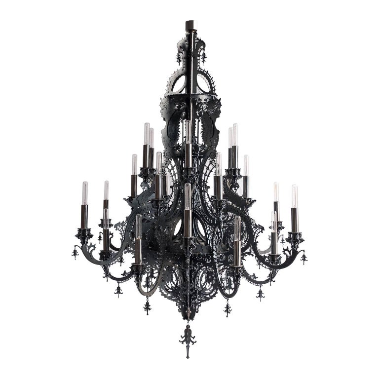 """""""Gina"""" Contemporary Chandelier in Black Metallic Lace with 24 lights For Sale"""