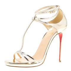 Metallic Light Gold Leather Benedetta T Strap Sandals Size 39